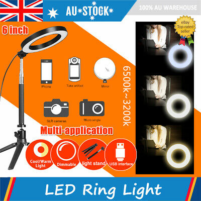 AU19.89 • Buy AU 6  LED Ring Light Dimmable Fill Light With Stand For Video Live Camera Makeup
