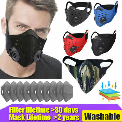 $ CDN11.04 • Buy Sport Face Cover 3/4/5 Layer Filter Pads Shield Replaceable Washable Reusable