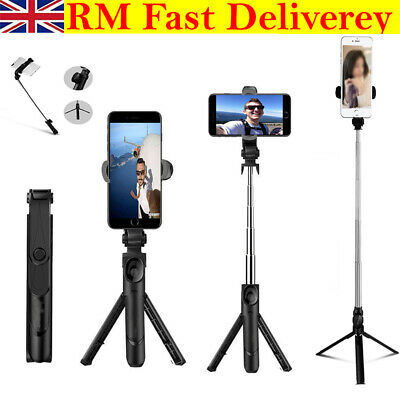 Telescopic Selfie Stick Bluetooth Tripod Monopod Phone Holder For IPhone Samsung • 10.39£