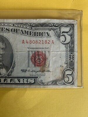 $ CDN5.40 • Buy 1963 $5 Note Red Seal Good Condition USN Antique History Vintage Rare Fancy Old