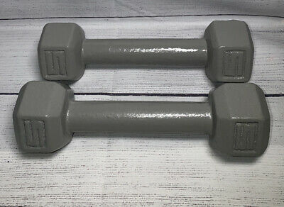 $ CDN46.87 • Buy Pair Set 2 5 Pound Cast Iron Metal Hex Weights Dumbbells 10 Lbs Total