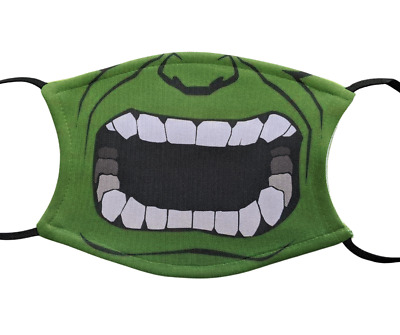 Hulk Cartoon Mouth Face Mask Covering Washable With Filter • 6.50£