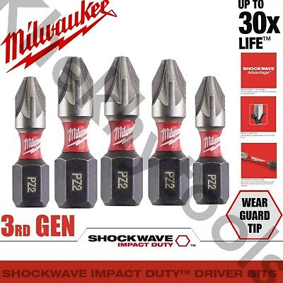 Milwaukee 5x PZ2 Shockwave Impact Bits Fits DeWalt Makita Hitachi Hilti AEG • 3.99£