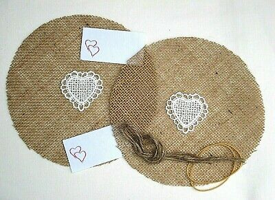 10 Christmas Lace Heart On Hessian Jam Jar Candle Covers Free Ties Labels Bands • 3£