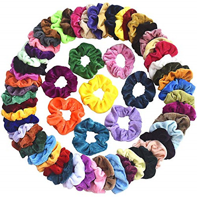 $8.99 • Buy 60 Pcs Hair Scrunchies Velvet Elastic Hair Bands Scrunchy Hair Ties Ropes Scrunc