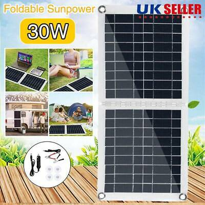 Folding 30W Solar Panel Portable Camping Hiking Phone Battery Charger Power Bank • 19.88£