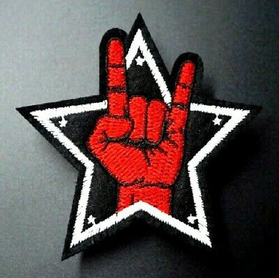 £2.25 • Buy Devil Horns Patch Embroidered Iron On Heavy Metal Rock AC/DC METALLICA MAIDEN