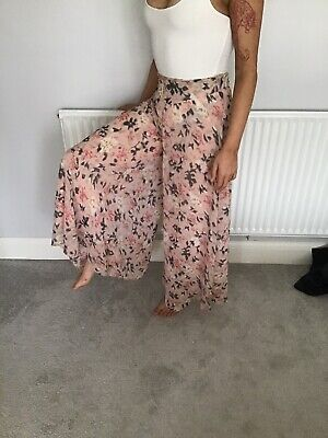 Ladies Summer Long Wide Leg Culottes Floaty Skirt Look Size 8 • 5.50£