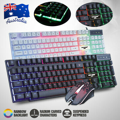 AU29.99 • Buy Pro Gaming Keyboard And Mouse Set Rainbow LED Wired USB For PC Laptop PS4 Xbox