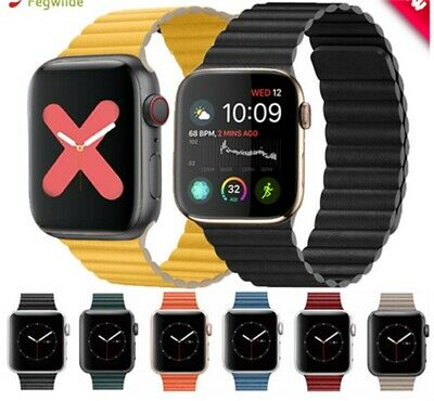 AU18.99 • Buy Strap For Apple Watch Band 44mm 40mm Genuine Leather Loop Band Magnetic Bracelet