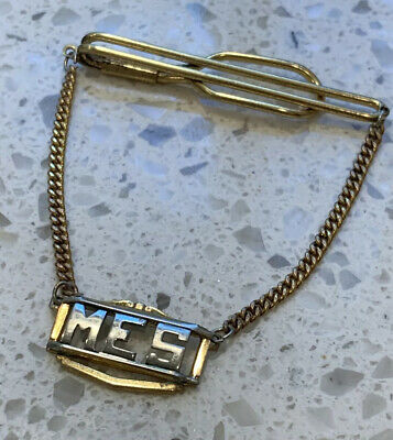 $14.95 • Buy Vintage Tie Clip Clasp W/ Chain Monogram Initials MES Gold And Silver Tone