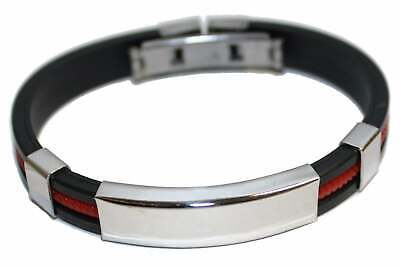 Engraved / Personalised Rubber & Steel Bracelet (RED) Gift Pouch AA69 • 11.99£