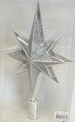 Luxury Glitter Shatterproof Star Christmas Tree Topper Decoration - Silver • 6.79£