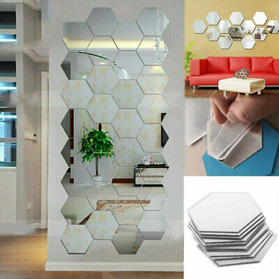 72x 3D Mirror Tiles Mosaic Wall Stickers Self Adhesive Bedroom Art Decal Home B1 • 0.99£