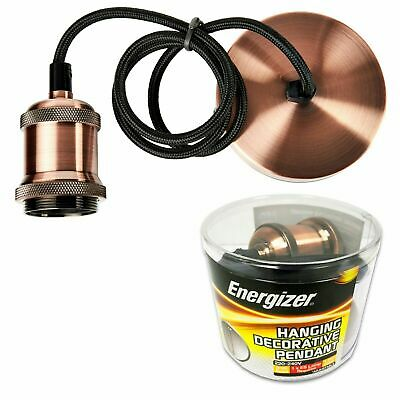 Copper Energizer Ceiling Rose Pendant Cord Flex Hanging Light Fitting • 12.15£
