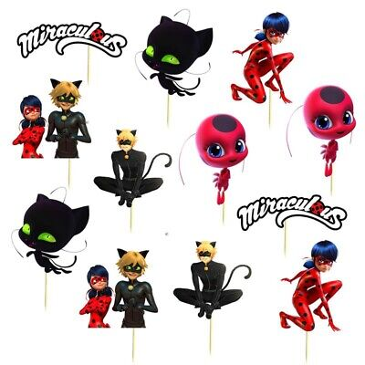 Set Of 12 MIRACULOUS LADYBUG  Cup Cake Party Toppers / Decorations Birthday  • 4.99£