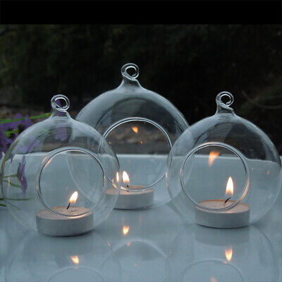 6-36X Glass Hanging Open Bauble Sphere Ball Tea Light Candle Holder Fillable DIY • 11.95£
