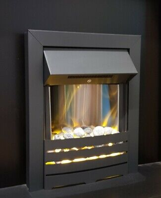 Electric Fire Black Pebbles Inset 1kw - 2kw Heat Output Modern • 135.95£
