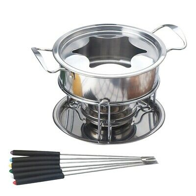 £18.09 • Buy Stainless Steel Cheese Chocolate Fondue Set Melting Pot W/ 6 Forks & Fuel Burner