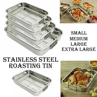 £11.95 • Buy Stainless Steel Roasting Oven Pan Dish Meat Baking Roaster Tin Grill Rack Tray