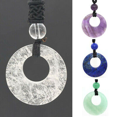 AU4.99 • Buy Natural Quartz Crystal Stone Round Hollow Lucky Coin Gemstone Pendant Necklace