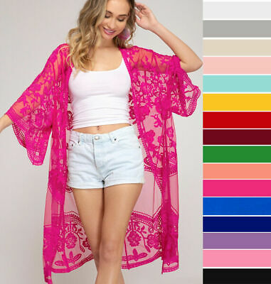 AU18.72 • Buy Embroidered Lace Kimono Sleeve Open Front Cardigan Tops Beach Jacket Long Duster