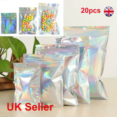 20Pcs Zip Heat Seal Foil Bags Stand Up Pouch Clear Food Packaging Aluminum • 4.71£