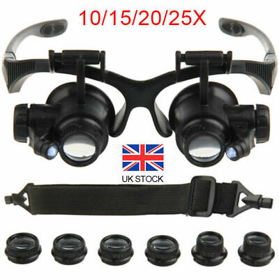 25X Magnifier Magnifying Eye Glass Loupe Jeweler Watch Repair Kit With LED Light • 8.79£