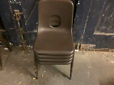 £25 • Buy These Are 4 Old Children's Hard Plastic School Stacking  Chairs Made By Hille