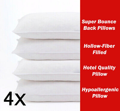 Four Pack Deluxe Super Re Bounce Back Pillows - 2 Bedding Set - 2 Pairs • 11.94£