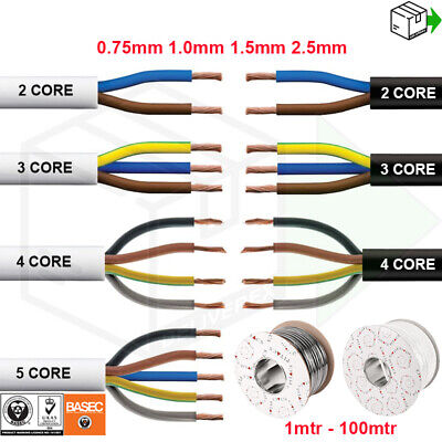 2 3 4 5 CORE ELECTRICAL FLEX ROUND CABLE WIRE 0.75mm 1mm 1.5mm 2.5mm BLACK WHITE • 5.95£