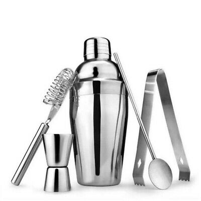5 Cocktail Maker Shaker Mixer Stainless Steel Bartender Kit Set Bar Drink Making • 12.49£