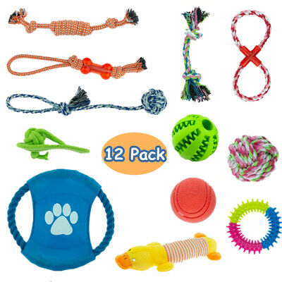 £8.99 • Buy 12PCS Dog Rope Toys Pet Puppy Chew Toy Gift Set Durable Cotton Clean Teeth