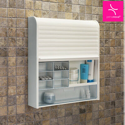 Modern TAMBOUR Shutter Wall Mounted BATHROOM CABINET Medicine Drawers White Unit • 54.99£
