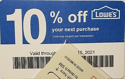 $39.99 • Buy Lot Of (100) LOWES Coupons 10% OFF At Competitors ONLY NotAtLowes Exp Jul15 2021