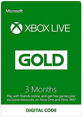 $ CDN31.31 • Buy Xbox Live Gold 3 Month Membership Xbox One / Xbox 360 - INSTANT DELIVERY