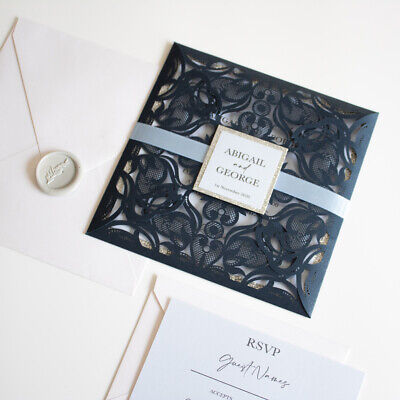 Navy, Baby Blue And Silver Lace Laser Cut Laser Cut Wedding Invitation And RSVP  • 2.99£