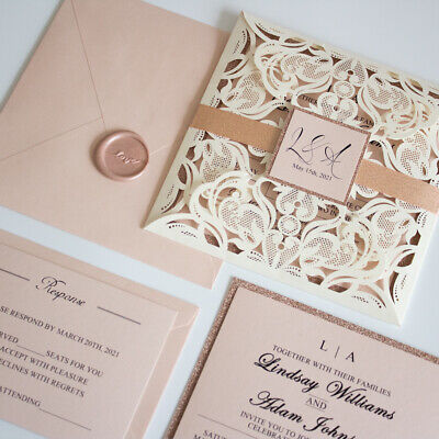 Ivory, Blush Pink And Rose Gold Lace Laser Cut Wedding Invitation And RSVP • 2.99£