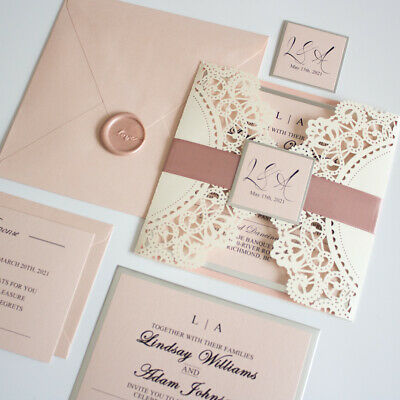 Ivory, Blush Pink And Silver Lace Laser Cut Wedding Invitation And RSVP Set • 2.99£