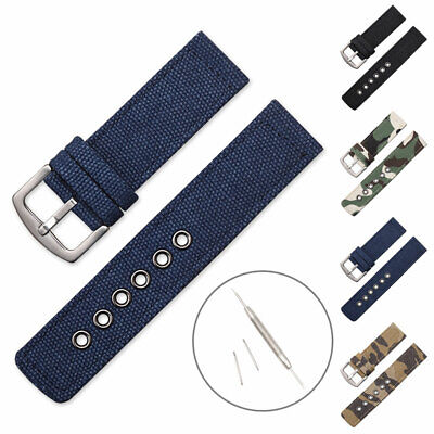 18/20/22mm Universal Camouflage Nylon Canvas Metal Buckle Wrist Strap W/Tools • 2.97£