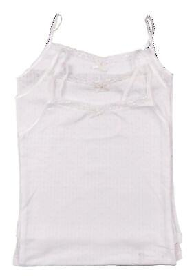 Girls Vests Pack Of THREE Pretty Strappy Design 5-14 Years BHS • 5.75£