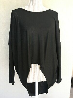 AU32 • Buy WITCHERY Black Linen Knit Stretch Top. Size M. 12 14. As New.