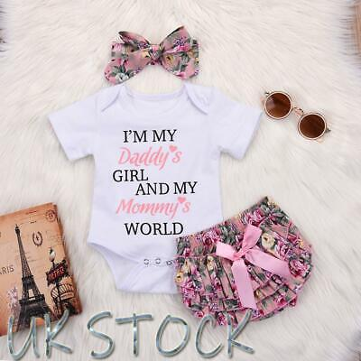 Newborn Baby Girls Romper Jumpsuit Tops Tutu Pants Headband Outfits Clothes Set • 8.99£