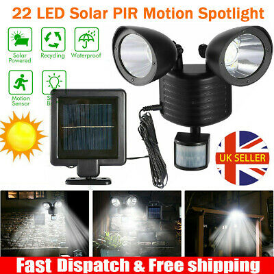 22LED Solar Powered PIR Motion Sensor Security Spotlight Outdoor Garden Light UK • 14.78£