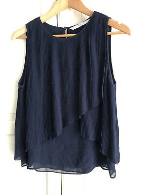 AU10 • Buy Zara Trafaluc Sheer Pleated Blue Top Size S/8
