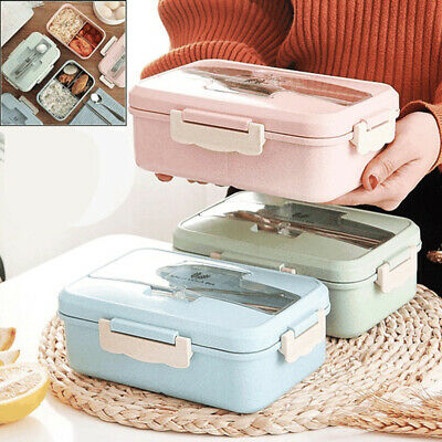 For Kids Adults 3 Compartments Lunch Box Food Container Set Bento Storage Box NG • 7.15£