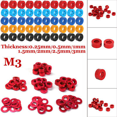 $8.99 • Buy US M3 0.25mm-3mm Aluminum Alloy Flat Washers Gasket Round Spacer Model Anodized
