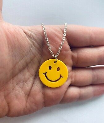 Laser Cut Acrylic Smiley Face Yellow Necklace Chain Y2k Fashion Rave Festival • 3.95£