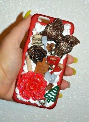 IPhone 6 6s Whipped Cream Decoden Christmas Xmas  Kawaii Bling Phone Cover Case • 9.95£