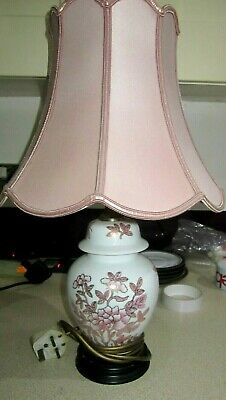 £14.99 • Buy Lovely Oriental,pink Mimosa & Butterflies Table Lamp Super Condition,32 Cm Tall